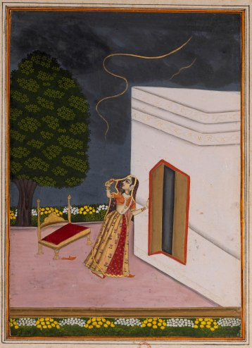 10 Lady-Observing-Lighting-in-the-Sky---Rajput-Ragamala-Painting-from-a-Manuscript,-Circa-1800